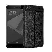 Гладкий Litchi Pattern Кожа PU Мягкий чехол назад для Xiaomi Redmi 4X Чёрный
