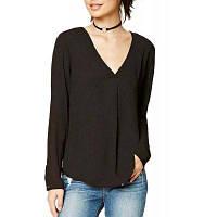 Женская футболка с твердым цветом V Шея плюс размерная футболка S