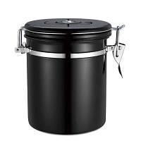 Канистра для хранения кофе в зернах из нержавеющей стали 500 г Черный A