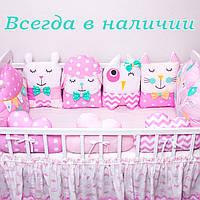"""Бортики защита в кроватку. Бортики зверюшки на 4 стороны """"Розовый мир №5"""""""