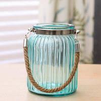 Творческая разноцветная прозрачная стеклянная ваза для конопли Светло-синий