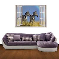 Creative 3D Zebra фона стены стикер черно-белый