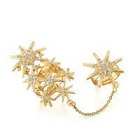 Модное кольцо с двойными цепями с бриллиантами и звездами Золотой