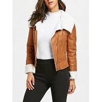 Женская PU-Кожаная Куртка На Молнии S