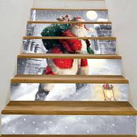 Санта-Клаус ходит по снегу печатных лестницы наклейки 6шт: 39 * 7 дюймов (без рамки)