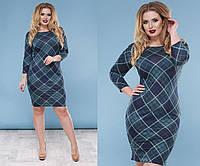 Трикотажное платье больших размеров 48+с принтом  / 4 цвета арт 4205-93