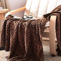 Чистый хлопок Leopard Вязаные шерстяные одеяла Коричневый