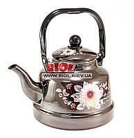 """Чайник 2,5л эмалированный темно-коричневый (""""Георгины"""") с подвижной ручкой и плоским дном Frico FRU-791-2"""