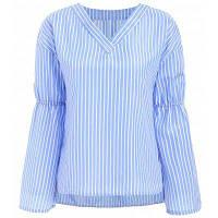 V Шея Белл рубашка полосатая блузка M