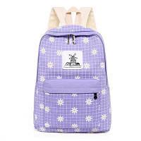 Набор 3 в 1 рюкзак сумка с кошельком в маленькие хризантемы Светло-фиолетовый
