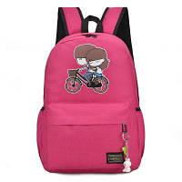 Рюкзак с изображением милого мальчика с девочкой на велосипеде розово-красный