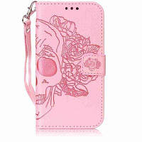 Двойной рельефный чехол для головы челюсти PU для Samsung Galaxy S5 Mini Розовый