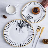 Керамическая тарелка с рисунком 2шт Цветной