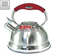 Чайник 3л из нержавейки со свистком, фиксированной ручкой красного цвета и индукционным дном Frico FRU-759-4