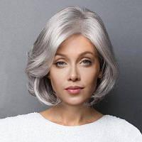 Короткое боковое разделение Слегка вьющийся Боб Синтетический парик Серебристо-серый цве