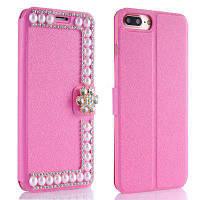 Роскошная жемчужина Diamond Cute Leather Card Слот-кошелек для телефона с чехлом для iPhone 8 Plus / 7 Plus Case розово-красный