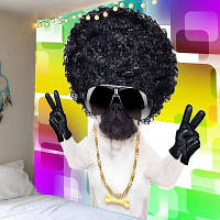 Прохладный Собака С Афро Кудрявый Волос Картины Стены Искусства Гобелены ширина59дюймов*длина51дюйм
