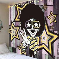 Афро Вьющиеся Волосы Хип-Хоп Человек Шаблон Настенный Гобелен ширина59дюймов*длина51дюйм