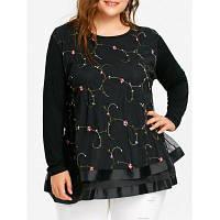 Женская Блузка Большого Размера С Цветочной Вышивкой И Сеткой 3XL