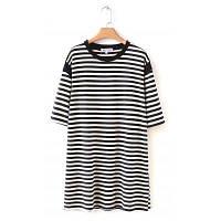 Новые женщины\'ы длинный черный и белый полосатый с короткими рукавами футболки один размер