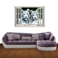 Творческий 3D Two White Tiger Background Стены Стикеры черно-белый