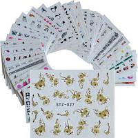 50ШТ Переводный Водой Модные Стикеры С Цветами Цветов Для Ногтей Разных Стилей Цветной