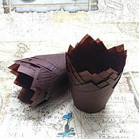 Бумажные формы Тюльпан Коричневые