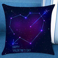День святого Валентина Звездная звезда Сердце Стрелка Печатная лента Подушка W18 дюймов * L18 дюймов