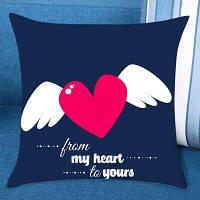 Валентин Летающий Сердце Печатные Декоративные Подушка Дело W18 дюймов * L18 дюймов