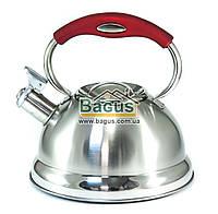 Чайник из нержавейки 3л (индукция) с красной ручкой и свистком Frico FRU-759-4