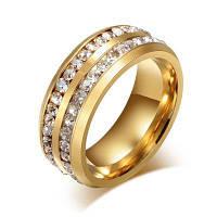 Кольцо из титановой стали с искусственными бриллиантами 12