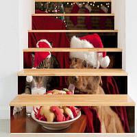 Рождество Собака Pattern Кот Декоративные Наклейки Лестницы 6шт: 39 * 7 дюймов (без рамки)
