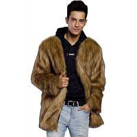Искусственное шерстяное пальто Brown V Шея с длинным рукавом Регулярное подходящее зимнее пальто для мужчин XL
