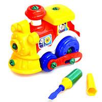 Конструктор 956, паровозик, инструменты, в кульке, 25-25-14см