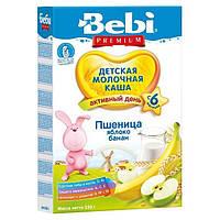 Молочная каша Bebi Premium пшеничная с яблоком и бананом, 250 г