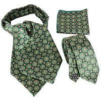 Урожай Цветочный Цветочный узор Искусственный шелковый галстук-носовой платок Зелёный