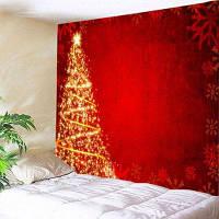 Настенный витраж Рождественские звезды Дерево Печать Гобелен ширина59дюймов*длина51дюйм