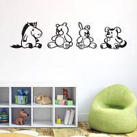 Мультфильм животных Creative стены наклейки для детей украшения комнаты Чёрный