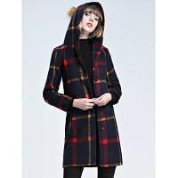 С капюшоном с проверенным шерстяным пальто 2XL