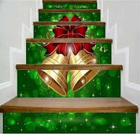 DSU Золотой колокол Красный лук Счастливый рождественские лестницы наклейки 108 x 100 см