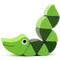 Изменяемая деревянная крокодиловая форма Детская образовательная игрушка Зелёный