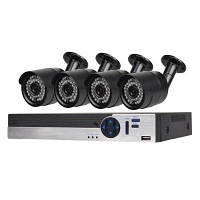 4-Кнальная система камеры безопасности с 4CH 1080N AHD видеорегистратором 4 x 1,3MP погодоустойчивая камера с ночным видением Конвертер путешествий ЕС
