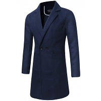 Длинное Двубортное Шерстяное Пальто L
