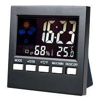 Удобный цифровой жидкокристаллический монитор температуры влажности Будильник Чёрный