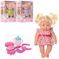 Кукла 529-A (24шт) 28см,бутылоч,расчес,косметика,заколоч,зв,на бат(таб),3цв,в кор-ке,24-35-12см