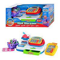 Детский игровой набор кассовый аппарат 7019, калькулятор, микрофон, акс, звук (русский) свет, на батарейке,