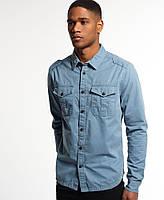 Мужская удлиненная голубая рубашка