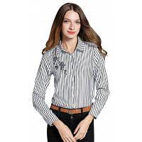 Полосатая вышитая блузка с длинными рукавами M