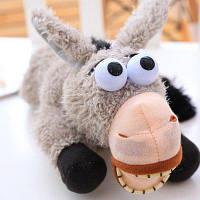 Роллинг на полу Ослик Пушистая игрушка Смеющийся ослик Серый