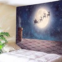 Настенный витраж Рождественская ночь Крыша Печать Гобелен ширина59дюймов*длина51дюйм